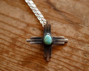 Flat Turquoise Zia Sun Symbol Necklace | Sterling Silver