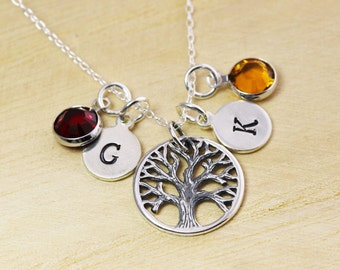 Family Tree Mothers Day Necklace - Family Tree of Life Necklace - Mothers Initial Necklace - Initial and Birthstone Necklace - Personalized
