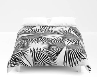 Black & White Comforter, Full Queen King, Coastal Bedroom Decor, Palm Leaf Bed Cover, Tropical Bedding, Tropical Glam Bedroom Duvet Cover
