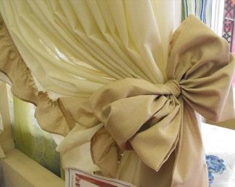 Curtain Bow Tie backs 10 colors, curtain tie backs, curtain bows, ruffle curtains, bow curtains, Prairie bows, Tiebacks, Ruffle tiebacks
