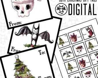 Spooky Christmas Goth Gift Tag Stickers -Instant Digital Download graphics for your personal use - 5 Images plus printable sheets