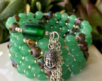 108-Bead Aventurine Wrist Mala - handmade