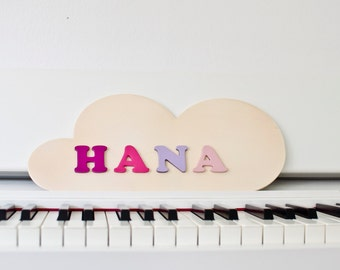 Xmas gift for girls - Wall name plaque - personalized new year gift baby girl - CLOUD shape unique door decor - custom gift for newborn