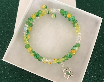 Green and yellow memory wire bracelet
