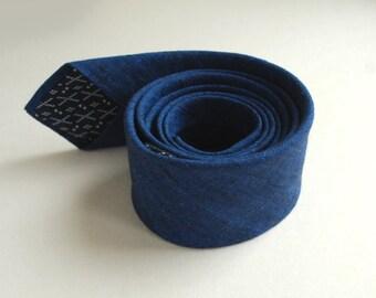 Cobalt Blue Skinny Linen Necktie- Royal Blue Men's Tie- Navy Linen Necktie- Modern Ties - Weddings Ties