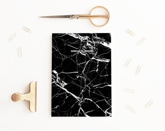 SALE Undated Weekly Planner, A5 Black Marble Notebook, Organiser, Diary, Marbled Stationery, Planner, Contemporary Stationery, Minimalist