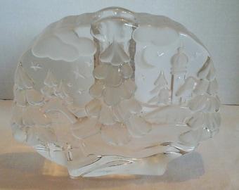 Vintage German Art Deco Glass Candle Holder Christmas Motif
