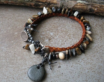 Leather and Gemstone Bracelet, Earthy Bracelet, Earthy jewelry, gemstone jewelry, Black grey cream and brown bracelet