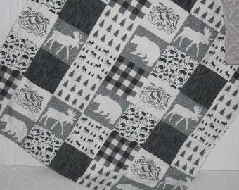 moose baby quilt- baby boy quilt- bear baby quilt-minky baby quilt- black and white baby quilt- woodland baby bedding- baby boy bedding