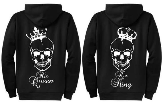 Matching Personalized Couple Her King His Queen / King and Queen Crown Sweatshirts - Zipper Hoodie Sweaters - Perfect Wedding Gift 6GoQX