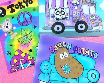 Postcard 3 pack! Kawaii postcards, Couch potato, Tokyo Trip, Stoney's Ice Cream Truck
