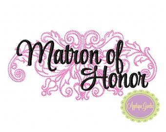 Matron of Honor Damask Machine Embroidery Design