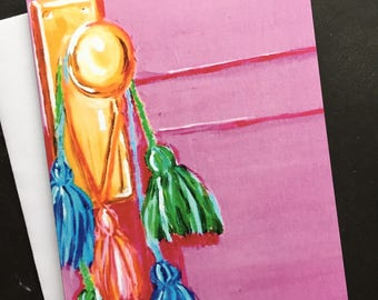 Pink Door with Colored Tassels Single Notecard from Original Painting