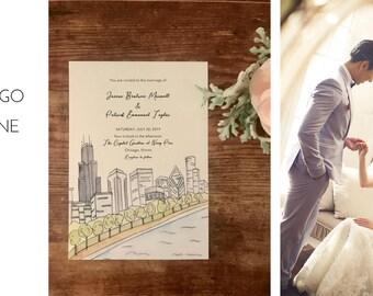 Chicago Skyline watercolor Wedding Invitations DEPOSIT