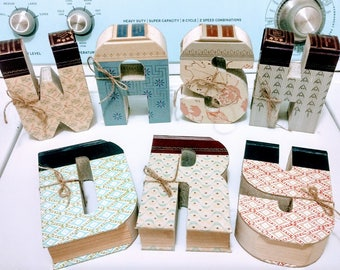 Book Letters - MINIs - Custom UpCycled Vintage Readers Digest - A, B, C, 1, 2, 3