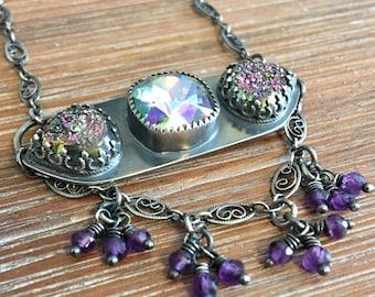 Sterling Silver, Amethyst, Drusy, and Swarovski Crystal Necklace