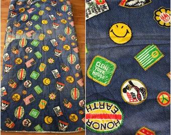 Vintage 70s Hippie Sleeping Bag. Cute Hippie Patchwork Print Sleeping Bag. Retro Rare Smiley Face Roadrunner Peace Sign Sleeping Bag