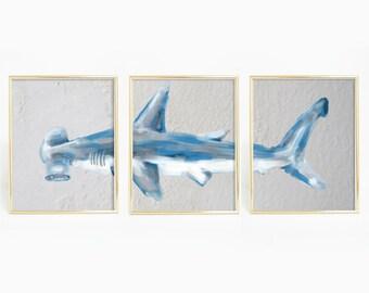 Shark Triptych, Boys Nursery Poster, Shark Wall Art, Shark Art Prints, Shark Painting, Hammerhead Shark Painting, Set of 3 Prints, Print Set