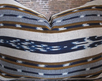 Limited - Guatemalan Woven Ikat Pillow Cover - Blue  Multi HRZ Stripe -