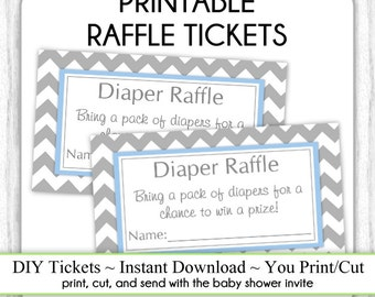 INSTANT DOWNLOAD - Gray and Blue Chevron Diaper Raffle Tickets, Baby Shower Raffle Tickets, You Print, DIY