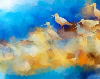 Godwit Shore - Original Wildlife Art – Bird Art - Downloadable Art Print - Instant Download - Exclusive