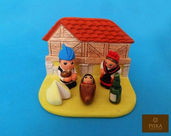"Galicia-Spain  Nativity Scene - Handmade in Clay - 1 block - 3.1""X2.2""X2.4"" high"