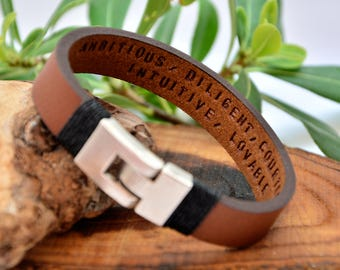 FAST SHIPPING Hidden Message Father's Day Gift For Men's Personalized Leather Anniversary Gift Custom Bracelet Father Days Bracelet Men Gift