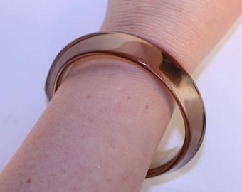 Vintage Brown Smoky Lucite Bangle Bracelet