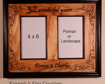 Personalized Anniversary Stained Picture Double Frame for 2 pictures (4x6)