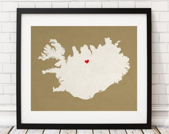Custom Iceland Silhouette Print, Customized Country Map Art, Personalized Gift, Iceland Art, Iceland Print, Heart Map, Iceland Map, Love Map