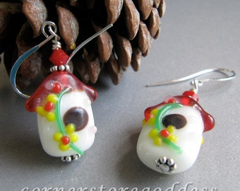 Lampwork Spring Birdhouse Bird House Earrings by Cornerstoregoddess