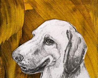"""original Labrador Retriever Drawing - 3"""" x 3"""""""