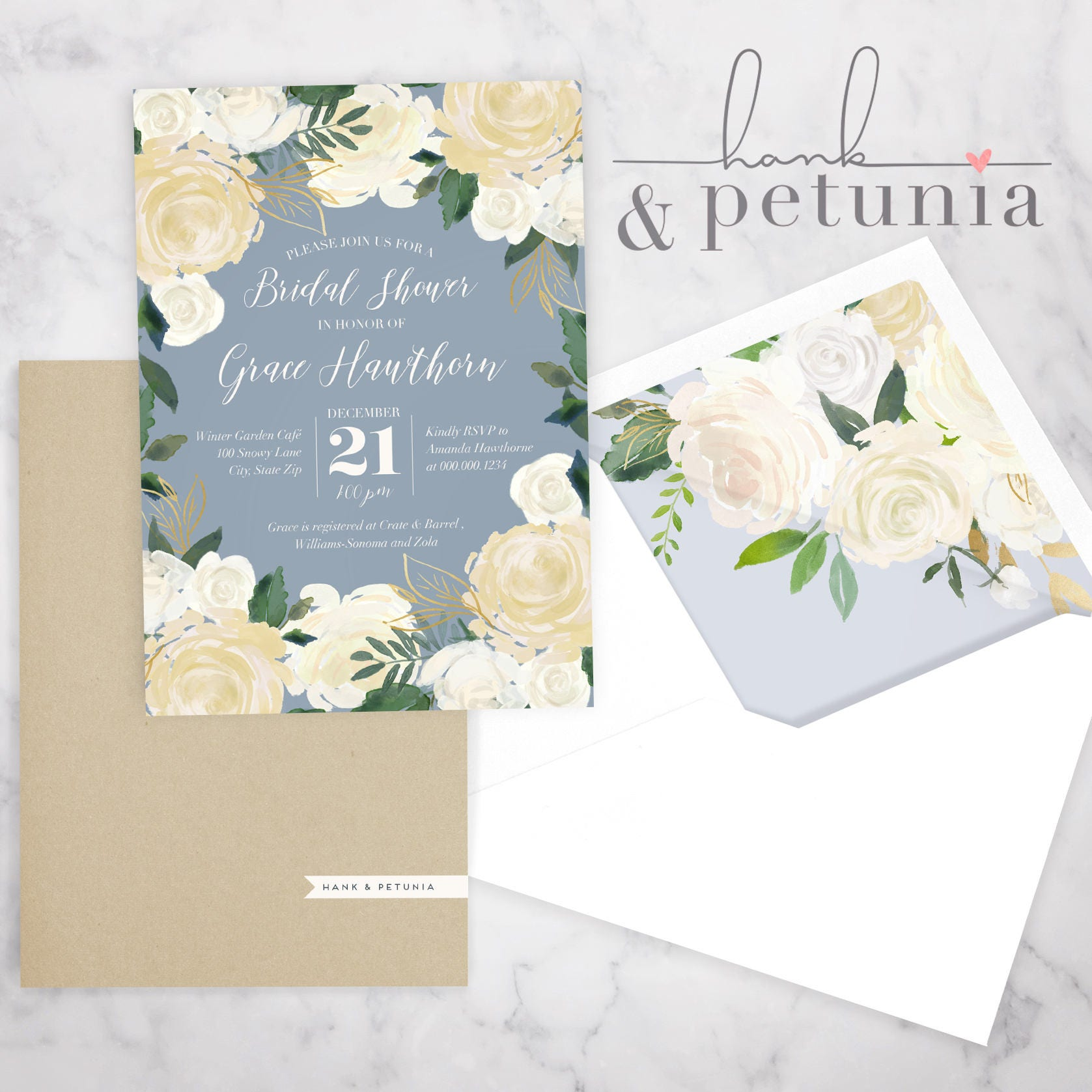 Ivory gold and dusty blue floral bridal shower invitation winter ivory gold and dusty blue floral bridal shower invitation winter bridal shower invitation christmas bridal shower invite envelope liner filmwisefo