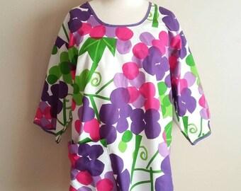 1960s Vera (Scarves) smock. Purple grapes Large Print Cotton. Mod / Beatnik apron Art Smock. One size. Hippie robe dress