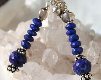 Faceted lapis lazuli and silver ethnic earrings