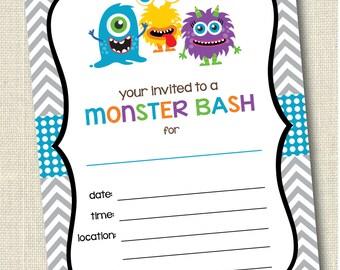 Printable Monster Invitations . Instant Download Monster Bash Invitation