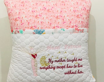 Memory Pillow made with new fabric or from personal items.