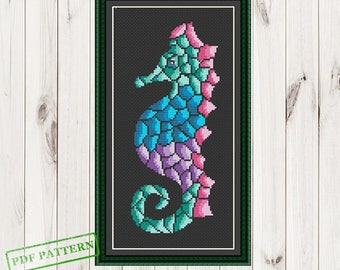 Сross Stitch Silhouette SeaHorse Cross Stitch pattern Cross Stitch Ocean Animals Sea Cross Stitch Modern Cross Stitch