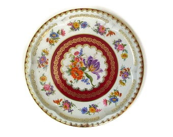 Daher Tin Tray Decorated Ware Round Serving Tray Floral Tin Tray Made in England