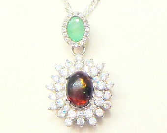 Black Ethiopian Welo Opal, Emerald and White Sapphire Sterling Silver Necklace