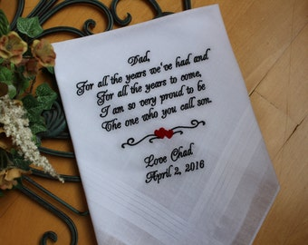 Father of the Groom gift from Groom, Father of the Groom handkerchief from son, wedding gift, personalise hankie, hanky, hankerchief, MS1F38