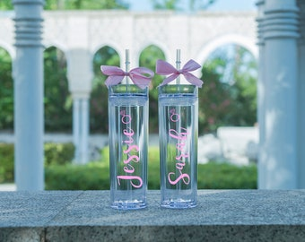 Personalized Wedding Tumbler Skinny Tumbler Bridal Shower Guest Favor Bridesmaid Tumblers Acrylic Tumbler Clear tumbler Tall Plastic Tumbler