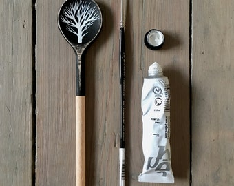 Arboreal 2 - Hand Painted Wooden Spoon - Tree Painting, Black and White Original Art by Natasha Newton