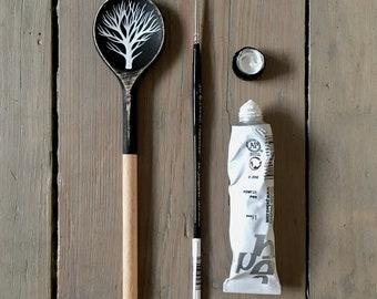 Arboreal 2 - Hand Painted Wooden Spoon - Tree Painting, Black and White Original Art by Natasha Newton