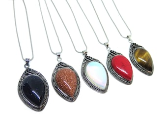 "Silver Gemstone Pendant Necklace - 15.7"" Chain"