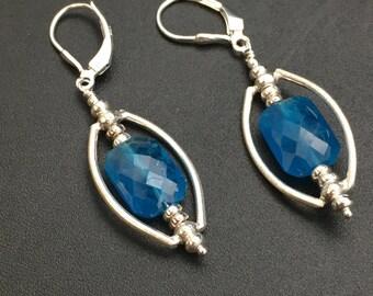 Neon Apatite Earrings, Teal Gemstone Earrings, .999 Fine Silver Earrings, Sterling Silver Leverback ear wires, Earrings under 75