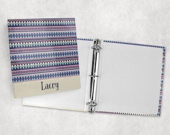Personalized binder, tribal print 3 ring binder, back to school supplies, school binder, binder organizer, office organizer