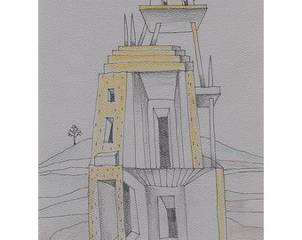 House in the Desert illustration drawing original building tower castle contemporary art
