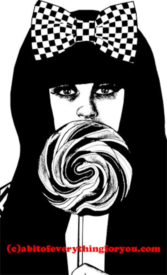Emo lolly pop girl printable art digital download art image beauty graphics portrait fashion black and white digital print