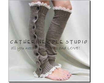 HEAVENLY HEATHER Mocha Brown button down lace leg warmers, A Sweater inspired button down legwarmers by Catherine Cole Studio LW17